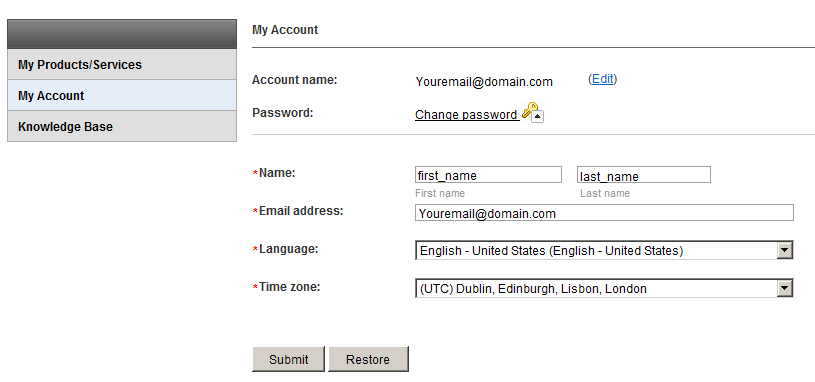 Edit your account details
