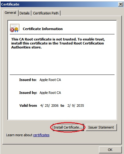 Install Apple root certificate