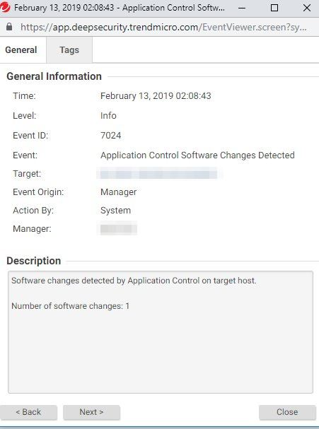Deep Security App Control System Event