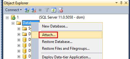 Attach database