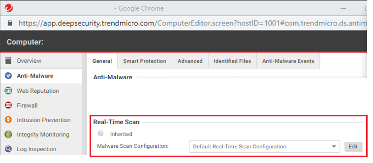 Edit the Malware Scan Configuration