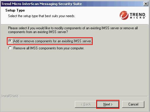 Add or remove components for an existing IMSS server