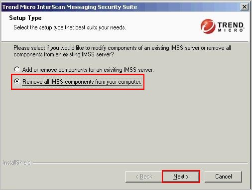 Remove all IMSS components from your computer