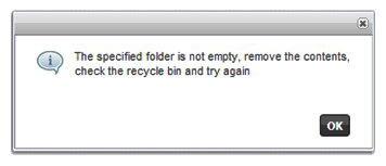 Specified folder is not empty error