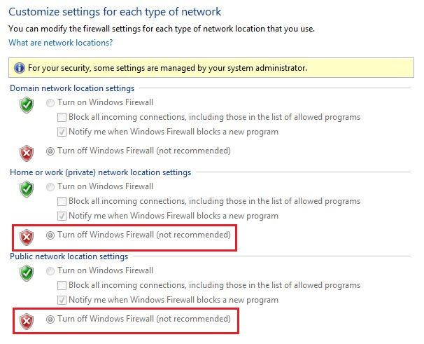 Configuring firewall settings