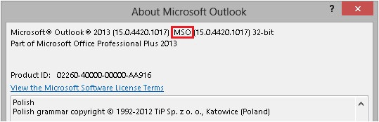Office 2013 supported by TMAS