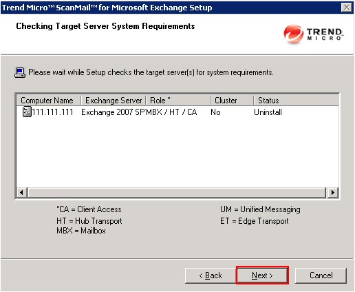 Uninstall SMEX Checking Target Server System Requirements