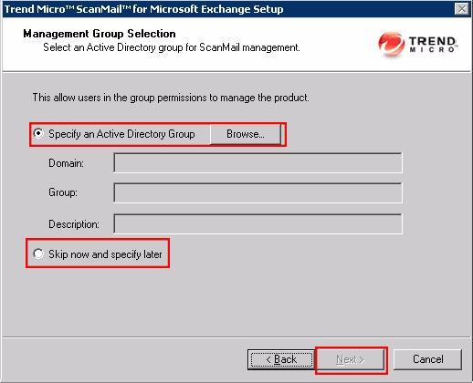 SMEX Setup - Management Group Selection Screen