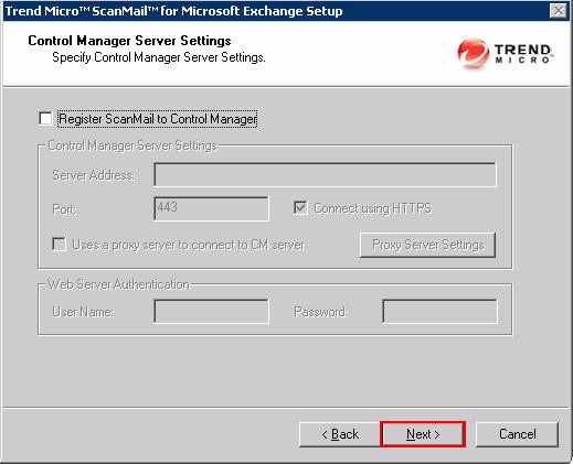 SMEX Setup - Control Manager Server Settings Screen