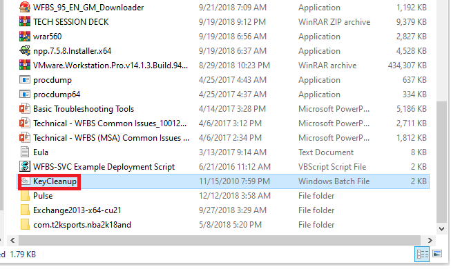 KeyCleanup file