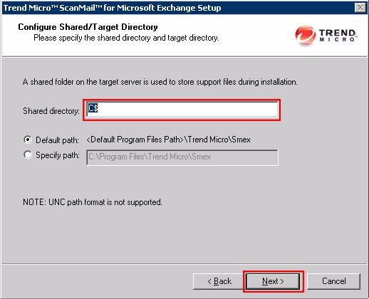 SMEX Setup - Configure Shared/Target Directory Screen