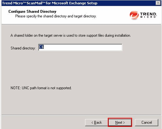 Uninstall SMEX Configure Shared Directory