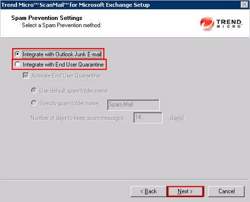 SMEX Setup - Spam Prevention Settings Screen