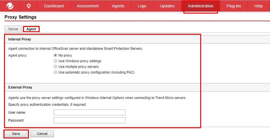 Configure Proxy settings for Agents - On Prem