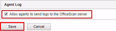 Enable Allow agents to send logs to the OfficeScan Server