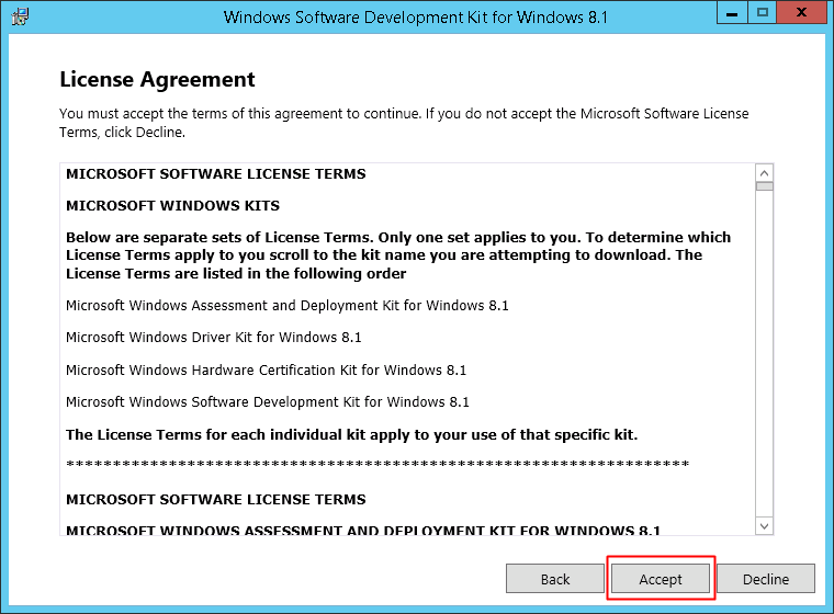 License Agreement page