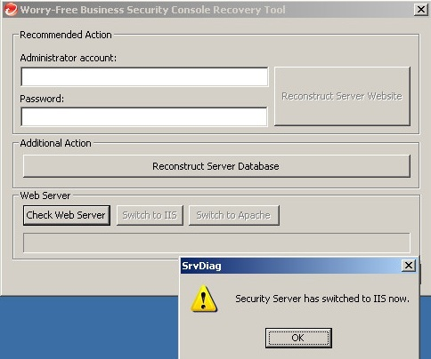 Security Server has switched to IIS