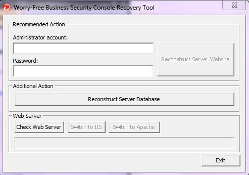 WFBS Console Recovery Tool