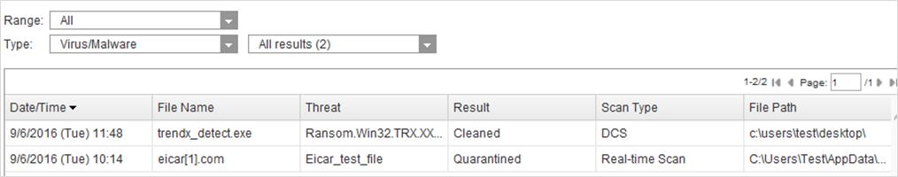 Detection Name Type - Virus Scan
