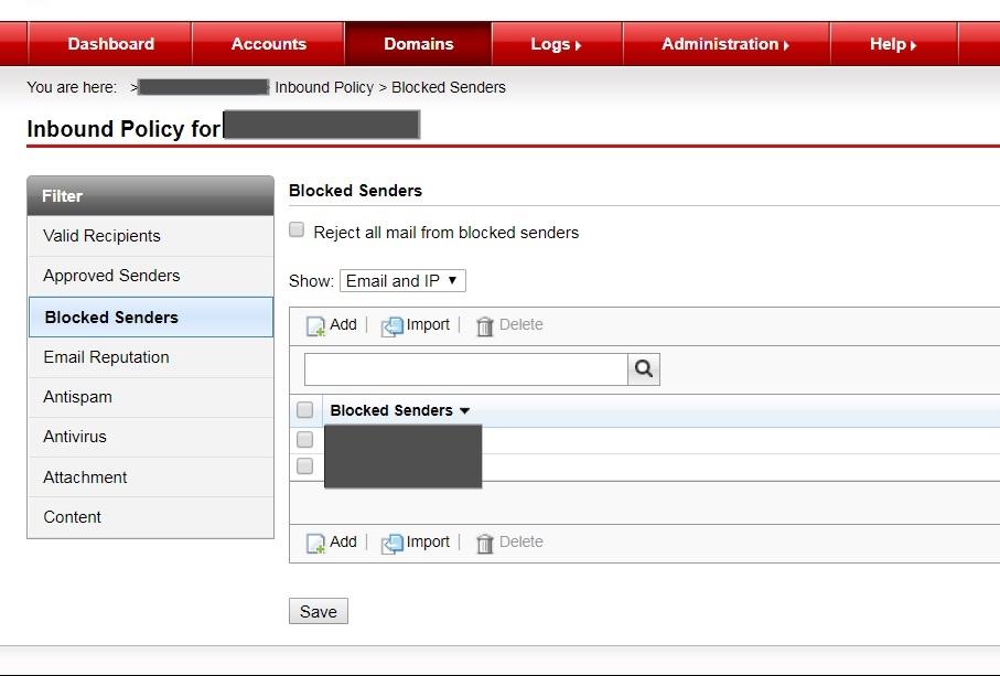 Blocked Senders filter