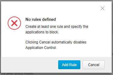 No rules defined error