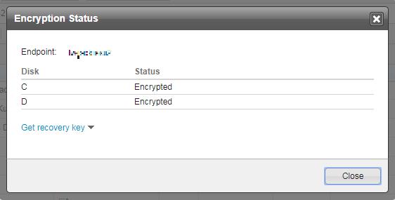 Encryption Status screen
