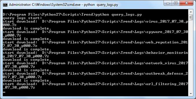 python query_logs