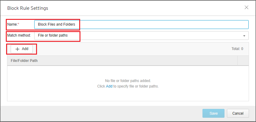 Select File or folder paths then click Add