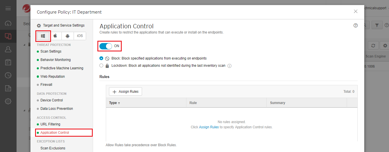 enable Application Control