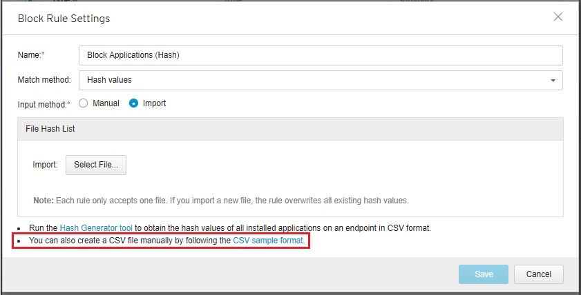 Download CSV sample