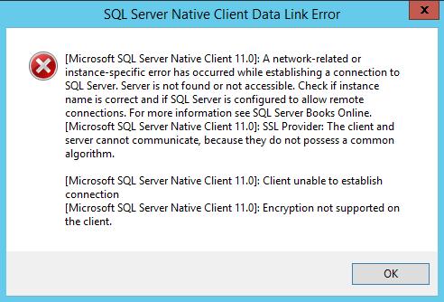 SQL Server Native Client Data Link Error