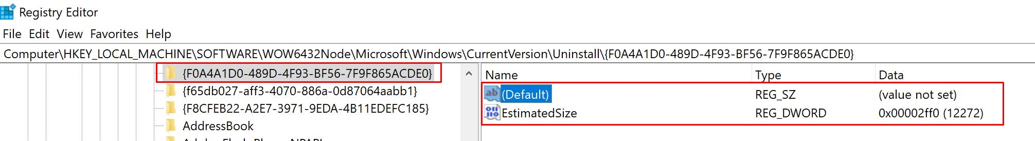delete if only contains EstimatedSize and (Default)