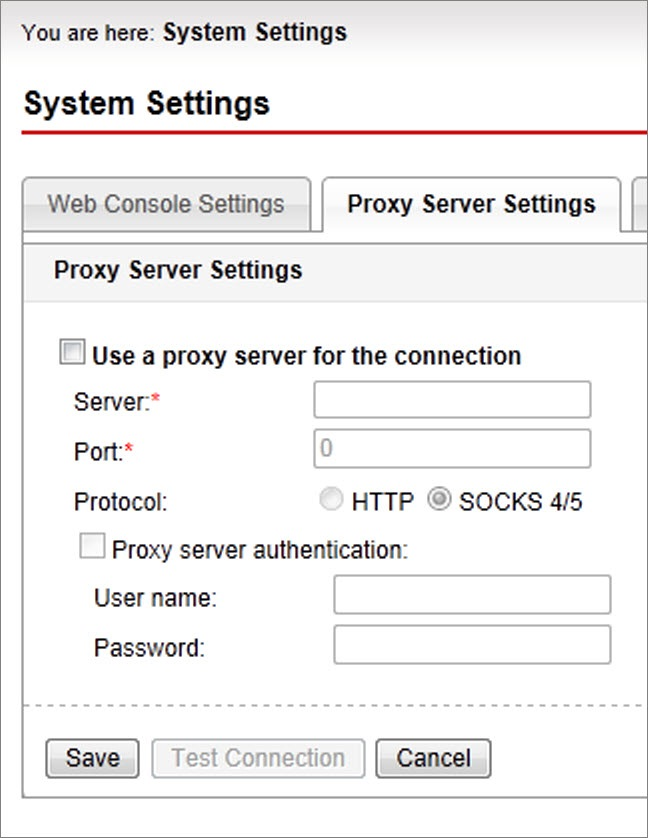 Proxy Server Settings