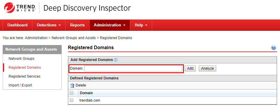 Specify a domain name to be registered