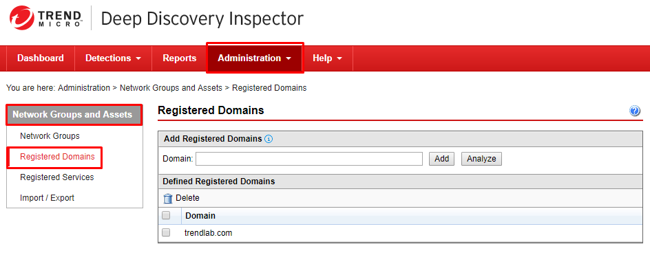 Go to Registered Domains