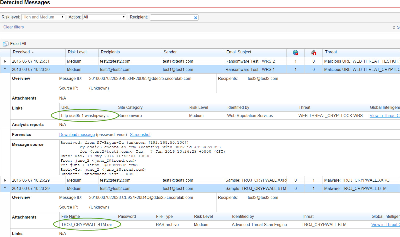 Click the number for detailed detection logs
