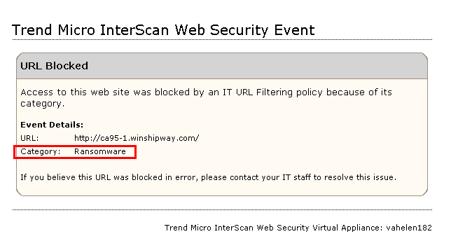 Blocked notification for Ransomware