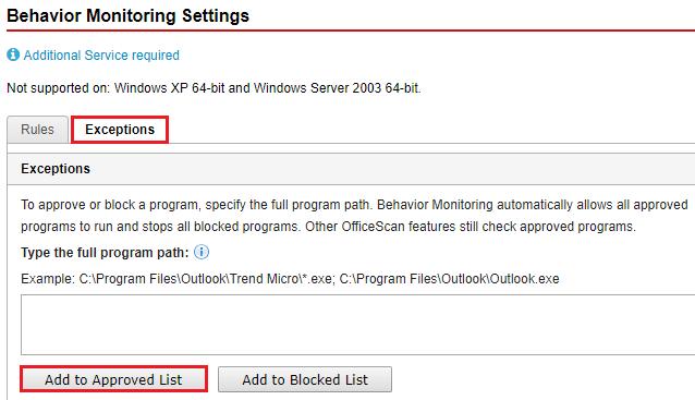 Behavior Monitoring Settings