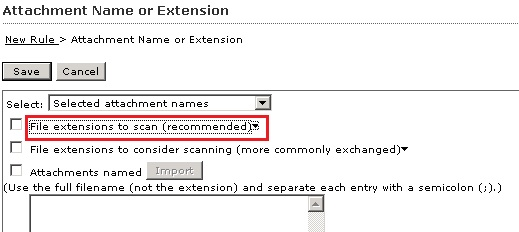 File extensions to scan