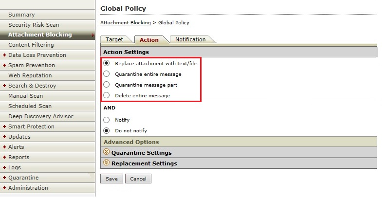 Configure Action Settings