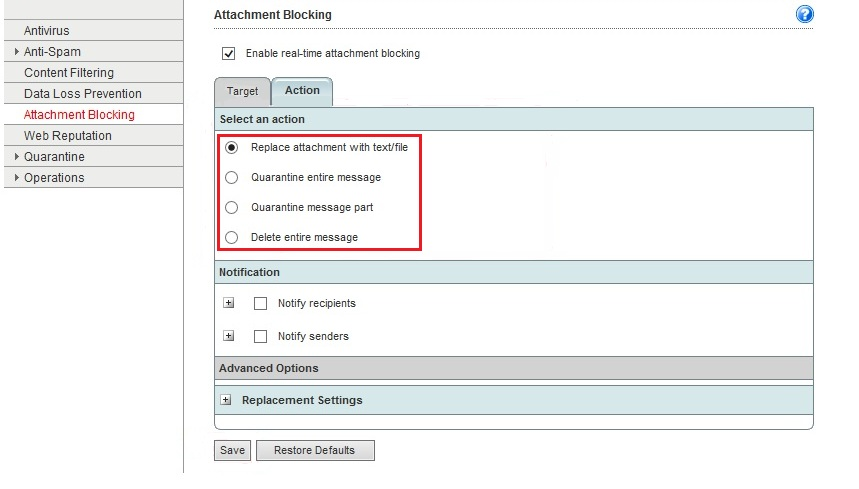 Select an action for Attachment Blocking in WFBS