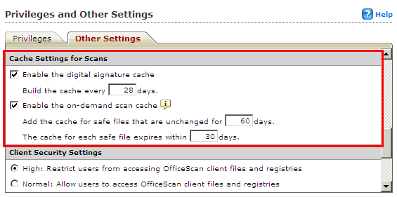 Cache Settings for Scans