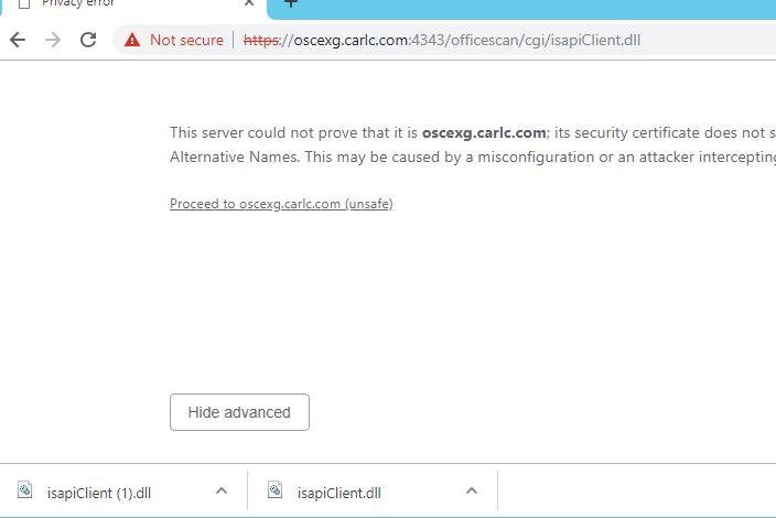 Apex One FQDN on Chrome