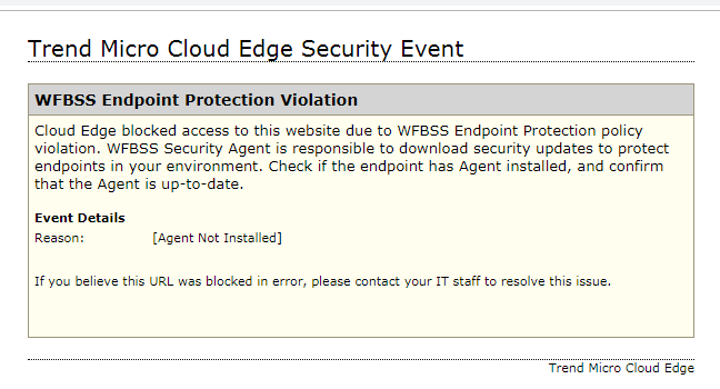 WFBSS Endpoint Protection Violation