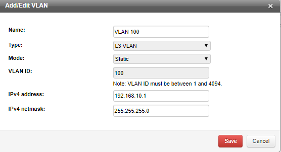 Add/Edit VLAN window