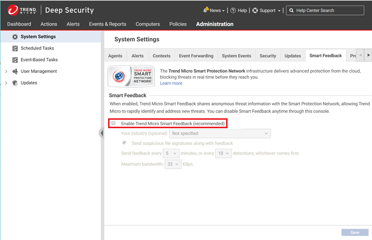 Enable Trend Micro Smart Feedback