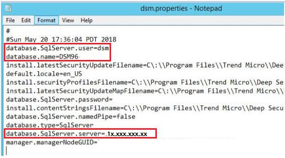 Database SQL server information
