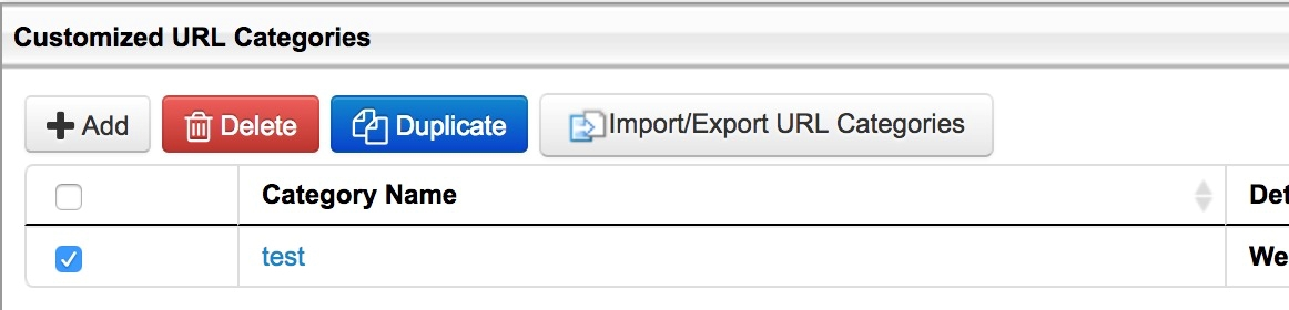Customized URL Categories