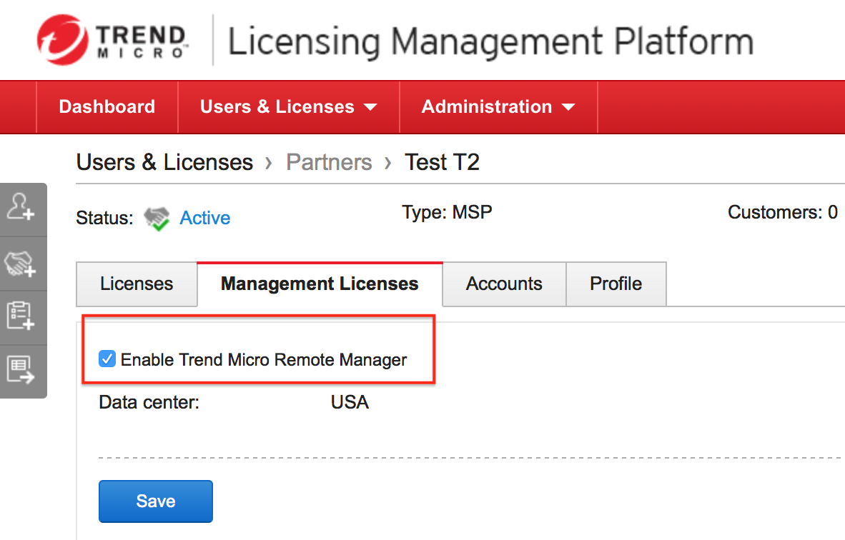 Enable Trend Micro Remote Manager