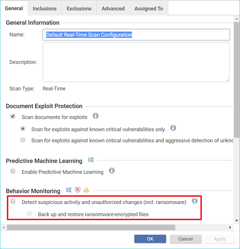 Behavior Monitoring configuration